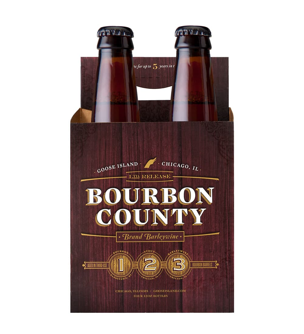 4 pack goose island bourbon county stout beer carrier